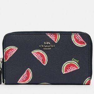 Coach Watermelon Print Medium Zip Wallet NWT